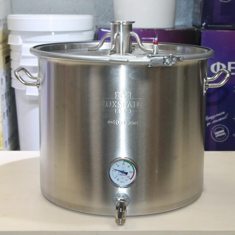Перегонный куб Luxstahl 40 литров кламп 2, с усиленной крышкой под ТЭН кламп