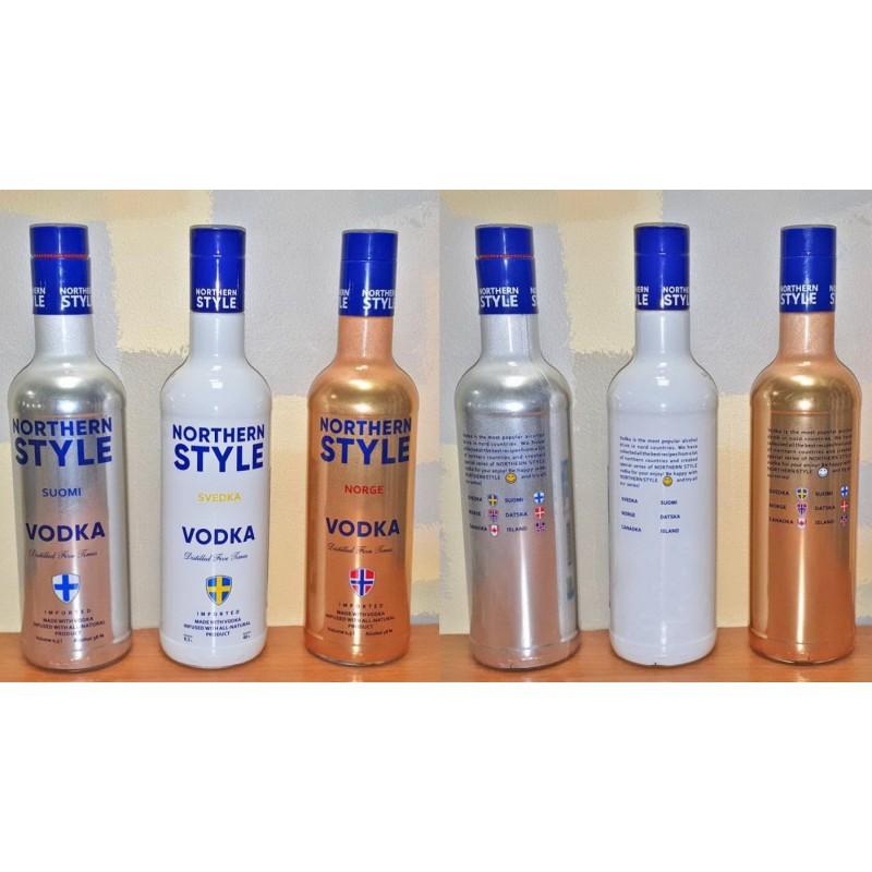 Бутылка стеклянная 0,5 литра Northern Style (серебро, золото, белая)