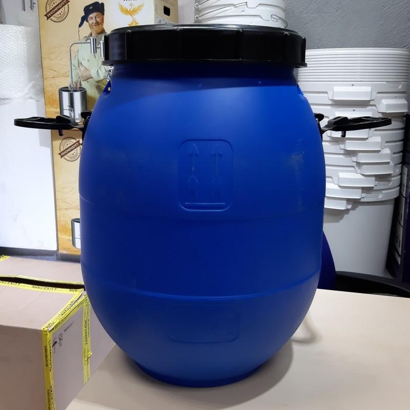 Бочка из пищевого пластика синяя 40 литров