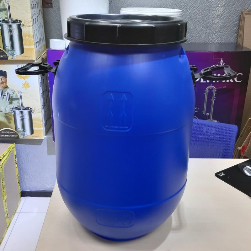 Бочка из пищевого пластика синяя 50 литров