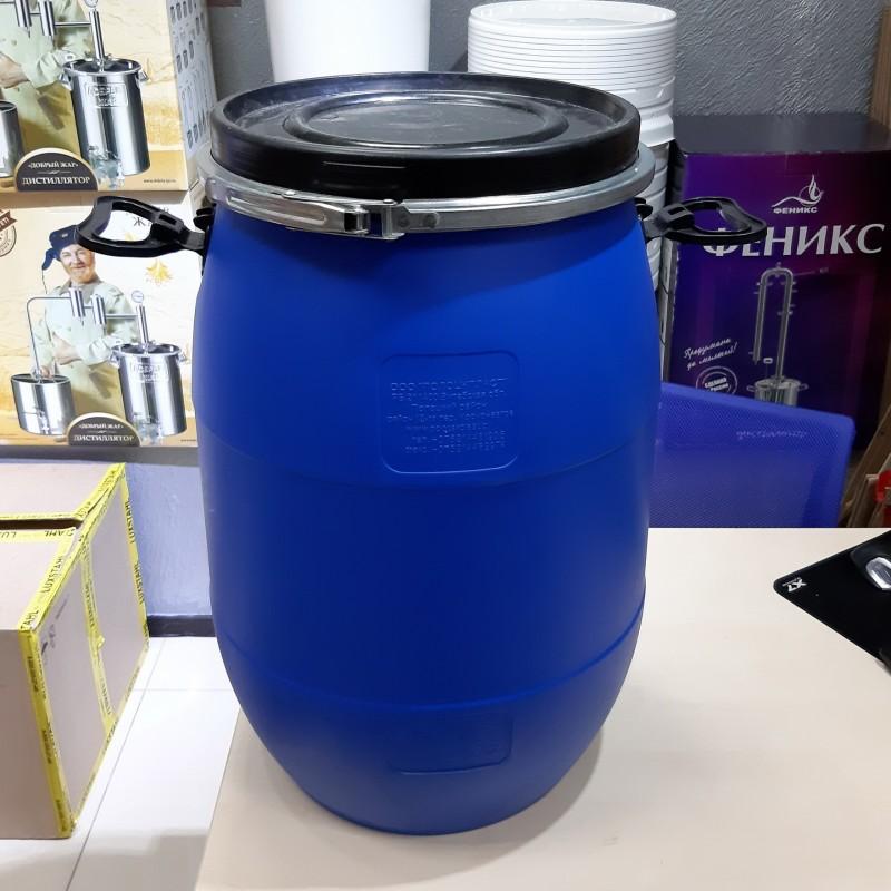 Бочка из пищевого пластика синяя 65 литров