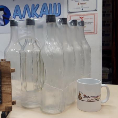 Набор бутылок 1 литр с ал. крышками (12 шт)