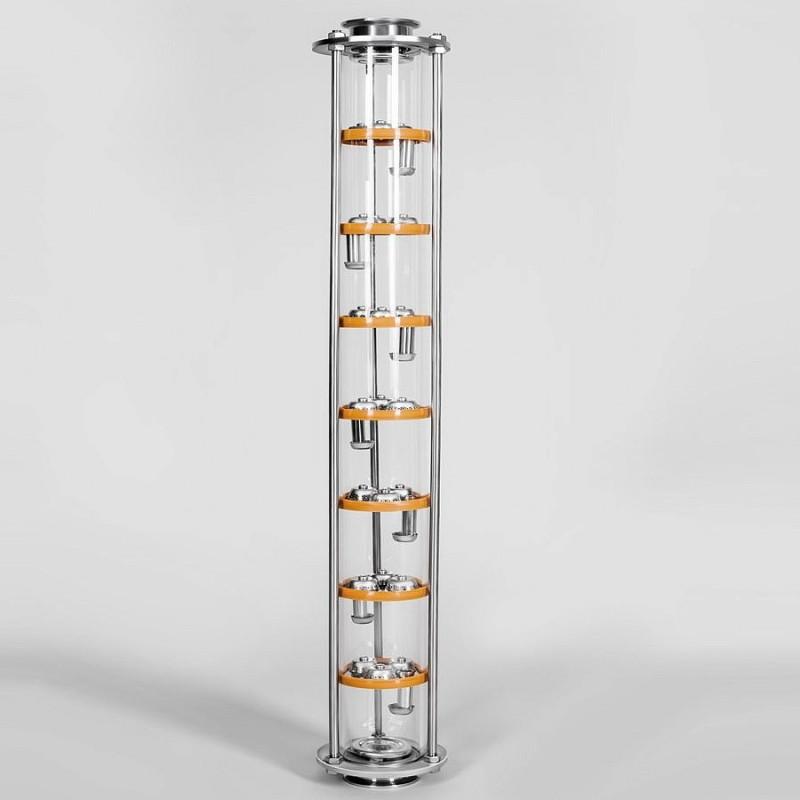Тарельчатая колонна D75, 7 тарелок, 3 колпака (стекло)